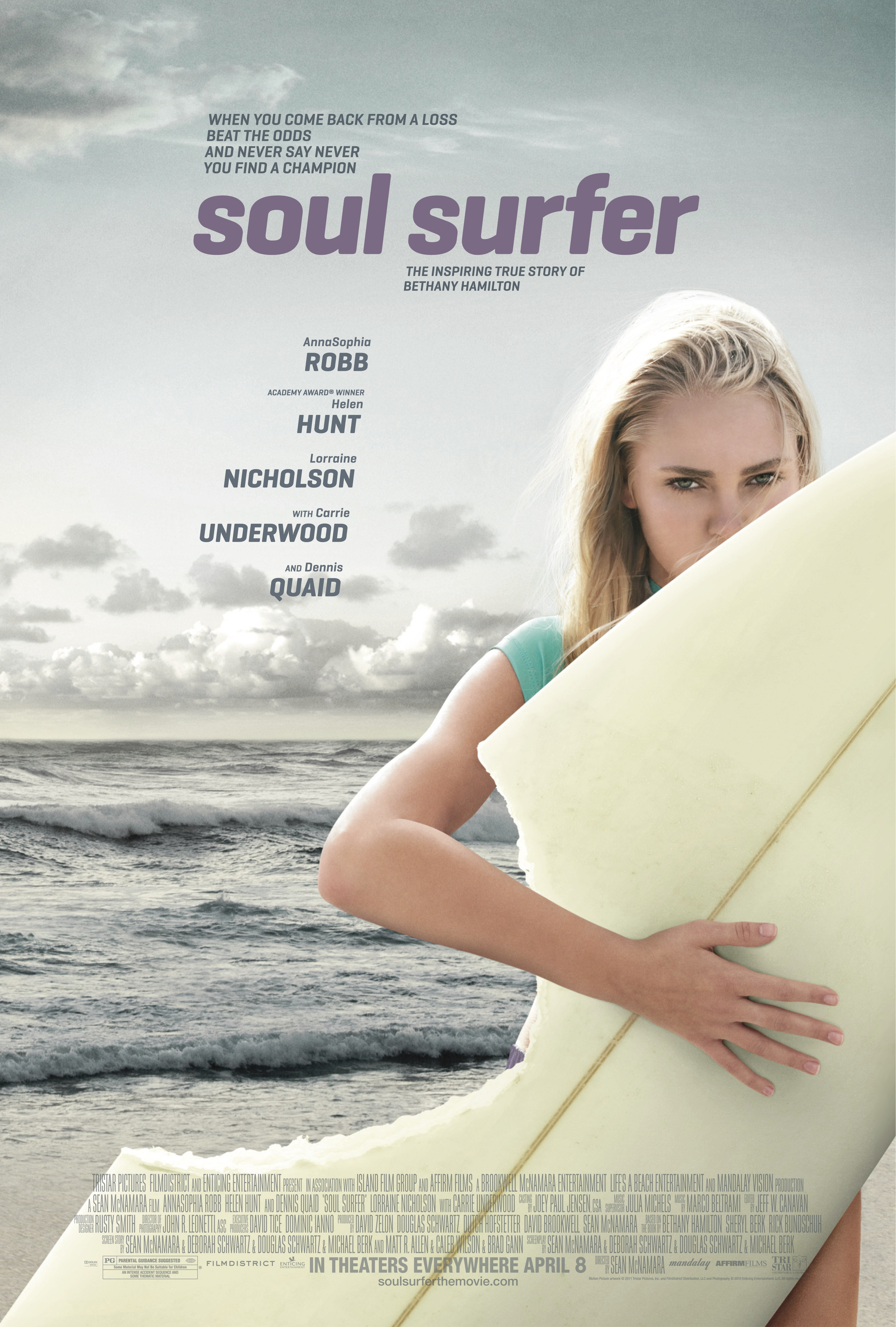 soul surfer Soul surfer is a 2011 american biographical drama film directed by sean mcnamara, based on the 2004 autobiography soul surfer: a true story of faith, family, and fighting to get back on the board by bethany hamilton about her life as a surfer after a horrific shark attack and her recovery the film stars annasophia robb, helen hunt, dennis quaid, and lorraine nicholson with carrie underwood.